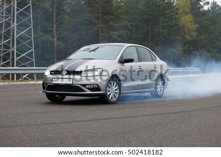 MINSK, BELARUS OCTOBER 22, 2016: New Volkswagen Polo GT at the presentation and test drive event for automotive journalists from Minsk