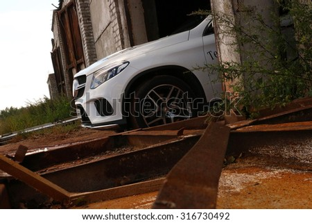 MINSK, BELARUS - SEPTEMBER 10, 2015: New Mercedes-Benz GLE Coupe at the test drive event for automotive journalists from Minsk