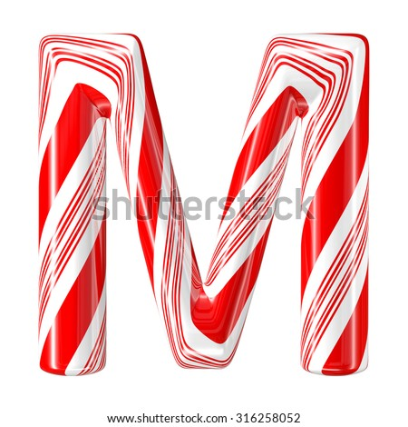 Mint hard candy cane 3d alphabet collection striped in Christmas colours. Letter M. - stock photo