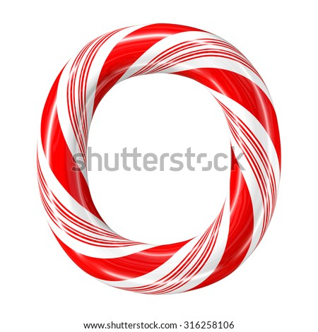 Mint hard candy cane 3d alphabet collection striped in Christmas colours. Letter O. - stock photo