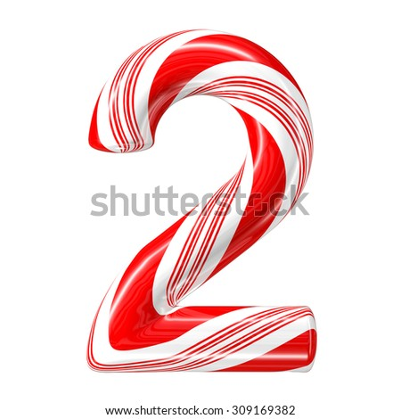 Mint hard candy cane 3d number collection striped in Christmas colours. Figure 2. - stock photo