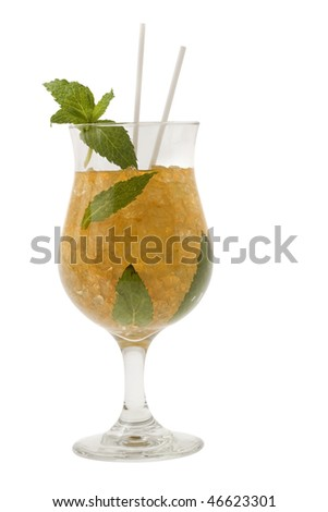 Mint Julep mixed drink on white background - stock photo
