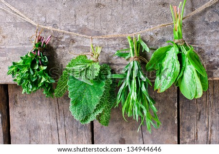 Mint, sage, tarragon and spinach on a wooden background,selective focus - stock photo