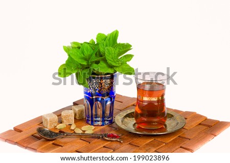 Mint tea is a traditional drink of Arabian culture - stock photo