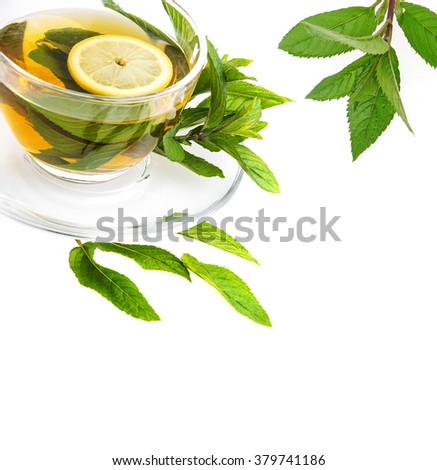 mint tea isolated on a white background - stock photo