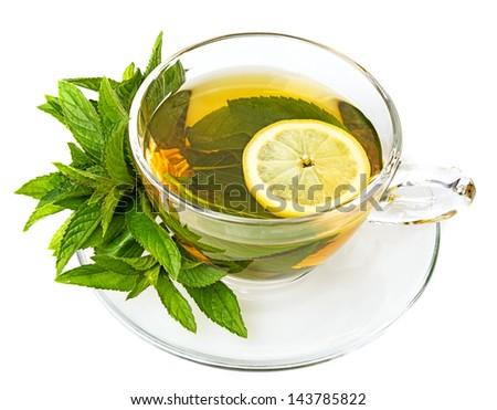 mint tea on a white background - stock photo