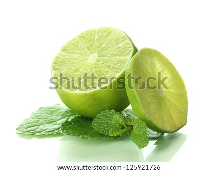 Mint with lime isolated on white - stock photo