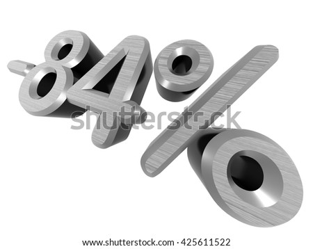 minus 84 percents. 3D rendered. On a white background. Metallic texture