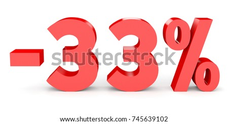 Minus thirty three percent. Discount 33 %. 3D illustration on white background.