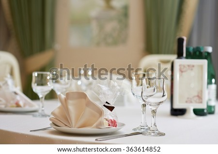 Minutes before dinner. Shot of an empty table in a restaurant - stock photo