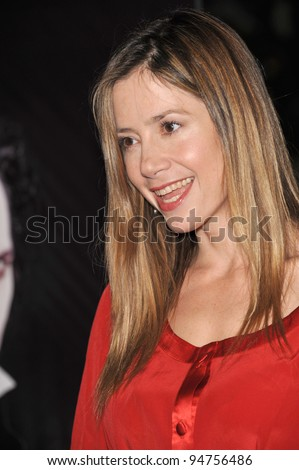 "Mira Sorvino at industry screening of ""Sweeney Todd the Demon Barber of Fleet Street"" at Paramount Studios, Hollywood. December 5, 2007  Los Angeles, CA Picture: Paul Smith / Featureflash"