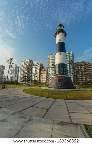 MIRAFLORES, LIMA, PERU: View of the lighthouse - stock photo