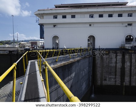 Miraflores Locks at Panama Canal, Panama - stock photo