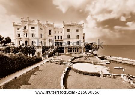 Miramare castle by Trieste (Italy) - stock photo