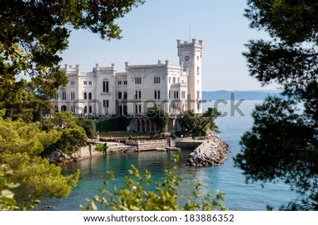 Miramare castle with vegetation frame in italy - stock photo