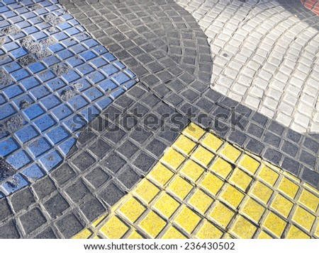 Miro's mosaic in the middle of the Rambla, the most important road in Barcelona, one of the landmarks of the city. Barcelona, Catalonia, Spain - stock photo