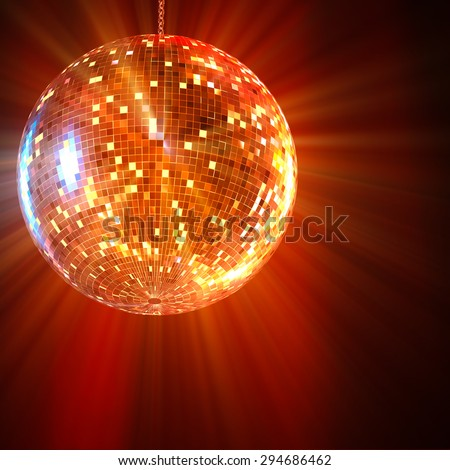 Mirror Ball Disco lights shining in the background 3d rendering. - stock photo