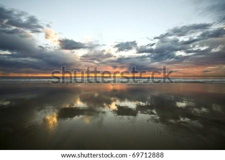 Mirror Image at Sunset - stock photo