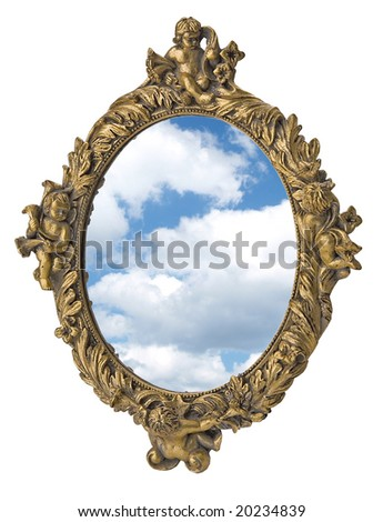 mirror in figured framework (lot) - stock photo