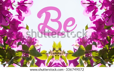 Mirrored photograph forming frame for your message - stock photo