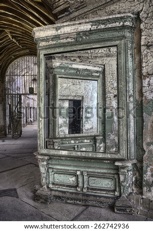 Mirrors at Eastern State Penitentiary, Philadelphia, Pennsylvania - stock photo