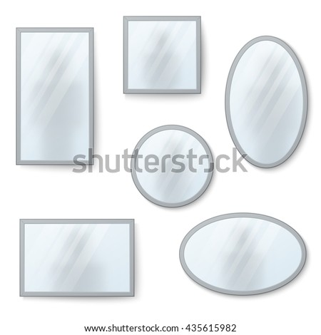 Mirrors set with blurry reflection - stock photo