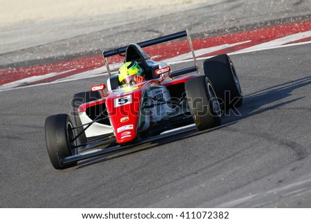 Misano Adriatico, Italy - April 10, 2016: A Tatuus F4 T014 Abarth of Prema Power Team team, driven by Schumacher Mick,  the Italian F4 Championship Powered by Abarth in Misano World Circuit.