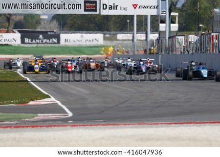 Misano Adriatico, Italy - - April 10, 2016: Cars prepare to leave the grid at the start during race one at the Misano World Circuit on  during the Italian F4 Championship Powered by Abarth