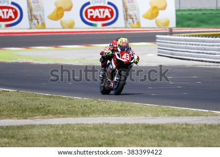 Misano Adriatico, Italy - June 21, 2015: Ducati 1199 Panigale R of EAB Racing Team, driven by MASSEI Fabio in action during the Superstock 1000 Race during the FIM Superstock 1000