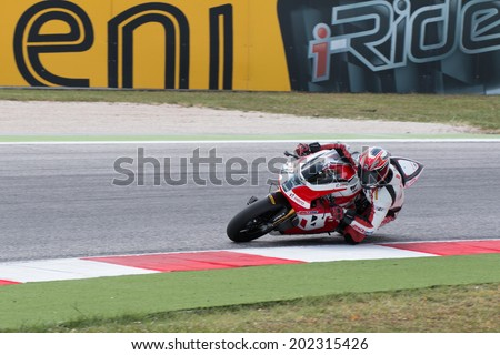 MISANO ADRIATICO, ITALY - JUNE 21: EBR 1190 RX of Team Hero EBR TEAM, driven by YATES Aaron in action during the Superbike Free Practice 4th Session during the FIM Superbike World Championship