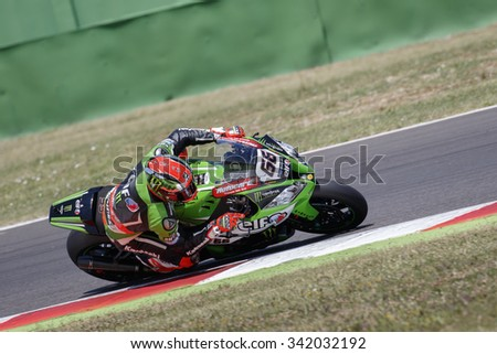 Misano Adriatico, Italy - June 20: Kawasaki ZX-10R of KAWASAKI RACING TEAM , driven by SYKES Tom in action during the Superbike Free Practice 4th Session during the FIM Superbike World Championship