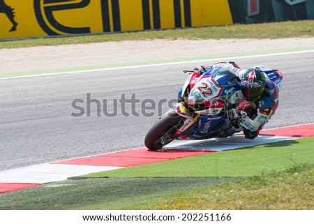 MISANO ADRIATICO, ITALY - JUNE 21: Suzuki GSX-R1000 of Voltcom Crescent Suzuki TEAM , driven by LOWES Alex in action during the Superbike Free Practice 4th Session during the FIM Superbike World