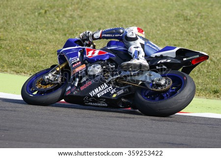 Misano Adriatico, Italy - June 20, 2015: Yamaha YZF R1 of Trasimeno Team, driven by GUARNONI Jeremy in action during the Superstock 1000 Free Practice 3 during the FIM Superstock 1000 - race