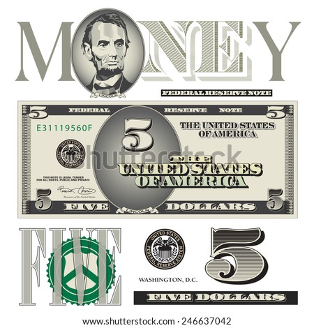 Miscellaneous five dollar bill elements - stock photo