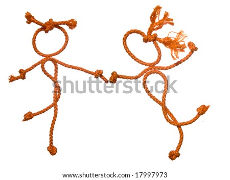 Miscellaneous of the figure of the people from rope on white background