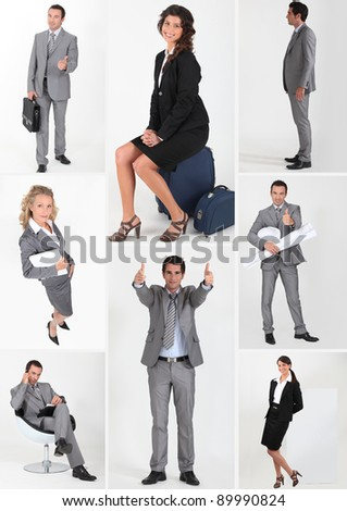 miscellaneous snapshots of male and female business persons - stock photo