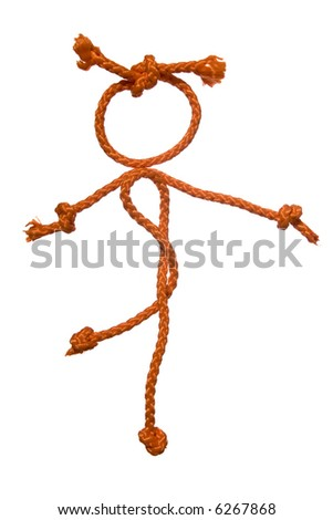 Miscellaneouses of the figure of the people from rope on white background