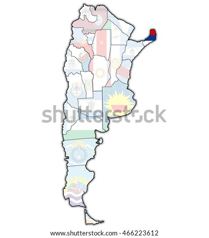 misiones region with flag on map of administrative divisions of argentina