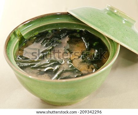 miso soup, japanese food - stock photo