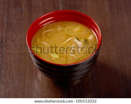 Miso soup , Japanese Food .closeup - stock photo