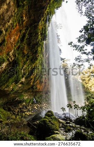 Misol Ha waterfall, Chiapas, Mexico. Popular place of interest in jungles - stock photo