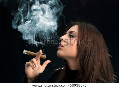 Miss Sexy Cigar Smoker (Attractive young adults lifestyle in studio uniform background series) - stock photo