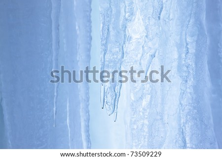 missed first trimester waterfall turned into icicles - stock photo