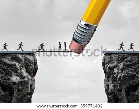 Missed opportunity concept and too late symbol as slow  and delayed business people stuck on a bridge because an eraser erased the path with other quick employees continuing the race. - stock photo