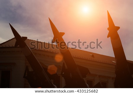 Missiles for defense against attacks from the air ; Launching ramp with military missile systems to defend against attacks from the air.Medium-range Rocket system - stock photo