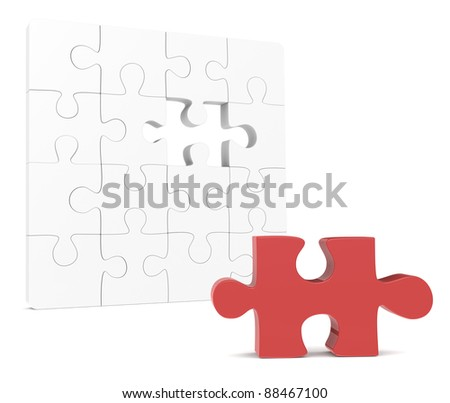 Missing Piece. Classic Jigsaw Puzzle. One missing piece, Red - stock photo