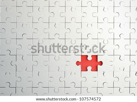 missing piece in puzzle, closeup - stock photo