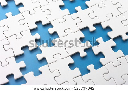Missing puzzle pieces.Concept image of unfinished task. - stock photo