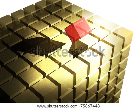 Missing red piece of the puzzle coming into place - stock photo