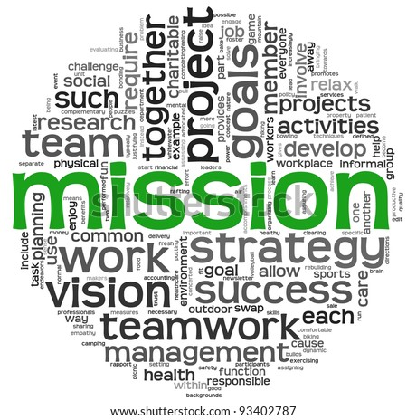 Mission and business concept in word tag cloud isolated on white background - stock photo